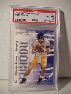 2000 SkyBox Impact Tom Brady Rookie PSA Gem Mint 10 Football Card #27 NFL  #NewEnglandPatriots