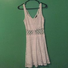 Lace dress! Beautiful white lace dress only worn once! No stains or tears. Size 5, bought at Macy's. Back is see through! Willing to negotiate price. Trixxi Dresses Mini