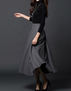 Gray woman long winter wool winter maxi skirt - Love this .. but my feet and ankles would be cold :S