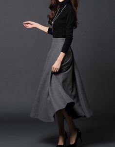 Gray woman long winter wool dress plus size woolen dress wool skirt winter maxi skirt - S M L XL XXL