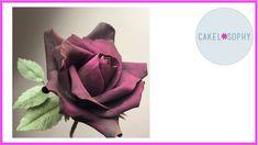 Black Sugar Rose: Super Quick 15 Petals Only Sugar Rose, Sugar Flowers, Diy Flowers, Purple Flowers, Fondant Figures Tutorial, Cupcake Tutorial, Rose Tutorial, Fondant Flower Cake, Fondant Bow