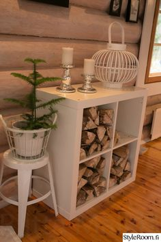 Polttopuut Ikea Expedit hyllyssä Home Decor Items, Cheap Home Decor, Ikea Expedit, Firewood Storage, House Inside, Fireplace Design, Christmas Home, My Dream Home, Decorating Your Home
