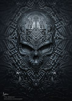 the silence- updated version on Behance Dark Fantasy Art, Dark Art, Biomech Tattoo, Giger Art, Satanic Art, Skull Artwork, Horror Artwork, Skull Wallpaper, Aztec Art