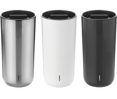 "To Go 2.0 Thermo Cup keeps your beverages hot or cold in a design that features a nifty little button to open and close the spout and when its open you just drink as you would a normal cup as if there were no lid on. And it also features a ""rocker stopper"" to avoid spillage."