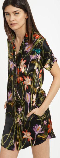 HARK+HAMMER the silk shirtdress + botanica black