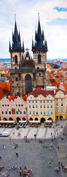 The Gothic Tyn Church in Prague, Czech Republic