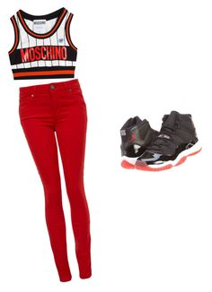 """""""Moschino"""" by arrinlovesu ❤ liked on Polyvore featuring Moschino, NIKE and Paige Denim"""