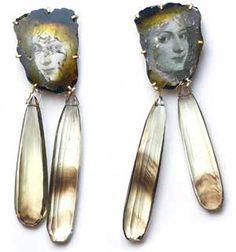Bettina Speckner - A Midsummer Night's Dream - Earrings, 2010 Photoetching in Zinc, Gold, Tourmaline, Citrine drops 5.5 X 1.5 cm         - http://siennagallery.com/exhibition_speckner2010.php