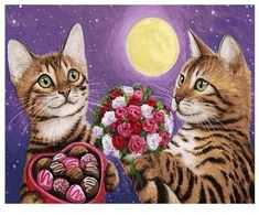 Valentines Flowers, Cat Valentine, Image Chat, Cheap Paintings, Cat Cards, Vintage Cat, Cat Drawing, Canvas Pictures, Beautiful Cats