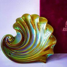 Hungarian Zsolnay bowl   #hungarian #hungary #zsolnay #iridescent #bowl #dish #shell #green #original #box #burgundy #pottery #porcelain #europe #art #artist #design #designer #studiart #signed #ceramic