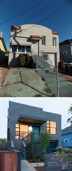 House Renovation Ideas - 17 Inspirational Before & After Residential Projects | This old Spanish Style house in Oakland, California, was renovated into a contemporary house with curb appeal.