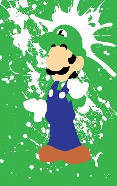 Super Mario Bros Luigi Splatter minimalist poster by FADEGrafix