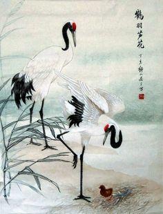 Crane,50cm x 65cm(19〃 x 26〃),4700005-z #art from #Korea