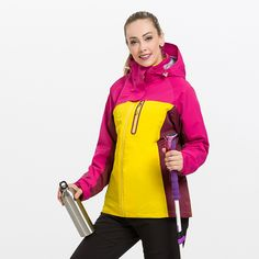 61.20$  Watch now - http://ali53c.worldwells.pw/go.php?t=32758800661 - Fleece Hooded Outdoor Jacket Women Winter Breathable Quick Dry Waterproof Windproof Windbreaker Ski Camping Hiking Clothes YL21W