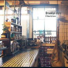 Kitchen/DIY/団地/賃貸/黒タイル/発砲スチロールレンガ...などのインテリア実例 - 2014-09-24 13:02:54