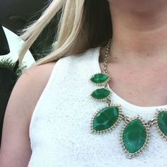 Green and gold (Baylor!) necklace