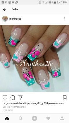 Spring Nail Art, Spring Nails, Nail Polish Designs, Nails Design, Botanic Nails, Cute Summer Nails, Nail Photos, Butterfly Nail, Girls Nails