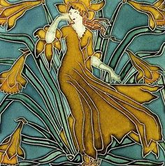 Walter Crane (1845-1915) was a British book illustrator, but in 1900 he designed this set of tiles for the Pilkington Tile & Pottery Company.  The set is titled Flora's Retinue, the six tiles (in order) are Bluebell, Anemone, Columbine, Daffodil, Poppy, and Cornflower. Something about working with incised ceramic tile brought out an affinity ane for Art Nouveau in Crane's style that is not readily apparent tin his other works. The tiles are in the collection of the Victoria & Albert Museum