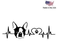 BOSTON TERRIER LOVE PULSE VINYL DECAL CAR BUMPER WINDOW STICKER DOG *20 COLORS*