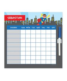 Cool Brown-Haired Superhero Dry-Erase Personalized Chore Chart