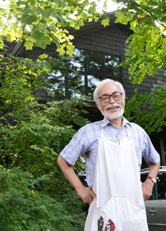 Hayao Miyazaki, outside his house. ^_____^I dont usually post photos, but I love this beautiful, beautiful man, and especially today on the release of his new film, Kaze Tachinu (The Wind Rises).
