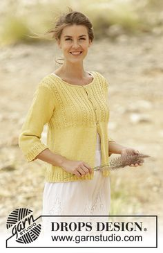 Jacket with lace edge on yoke and ¾ sleeves. Free #knitting pattern