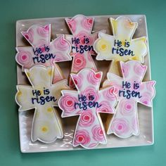 Flour Box Bakery has hand-iced decorated cookie gifts and favors, how-to cookie decorating video tutorials, and professional and affordable decorating supplies. Iced Cookies, Easter Cookies, Royal Icing Cookies, Easter Treats, Sugar Cookies, Cross Cookie Cutter, Cross Cookies, Chocolates, Cookie Countess