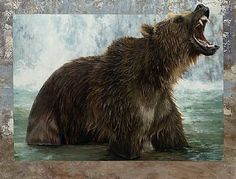 Grizzly Bear, Waterfall, growling grizzly, Adam - Sculpture Art by ValWarner