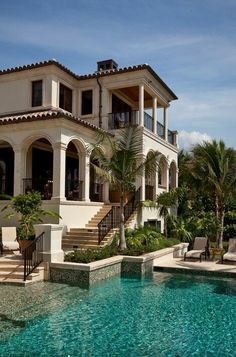 Hopefully move to Miami after already working for some plastic surgeons and hopefully have enough money to buy a nice villa in South Beach pool backyard Architecture Architecture Design, Miami Architecture, Architecture Interiors, Mediterranean Homes, Mediterranean Architecture, Spanish Architecture, Colonial Architecture, Classic Architecture, Spanish Style