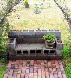 Billie's DIY cinder block planter bench
