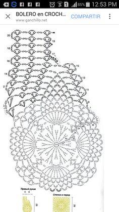 Pineapple Bolero For Girls - Best Knitting Crochet Bolero Pattern, Crochet Motifs, Crochet Diagram, Crochet Stitches Patterns, Doily Patterns, Crochet Chart, Crochet Doilies, Pull Crochet, Knit Crochet