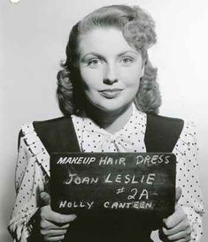 """JOAN LESLIE AT HER HAIR/DRESS WARDROBE TEST FOR WARNER BROS.' FILM, """"HOLLYWOOD CANTEEN."""" SHE SHE WON THE STARRING ROLE FOR THE FILM."""