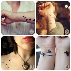 Bird Tattoos: I'm itching to get a new tattoo that has a black bird for each person I have loved and lost: My Dad, grandparents, etc.  I really like the line with the birds and then a few flying away...