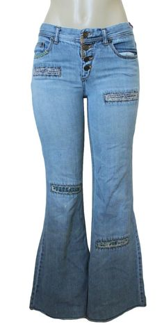 Vintage EXPRESS Women's Blue Jeans Flare Bell Bottoms 7/8 Ripped Precision Fit #Express #Flare