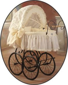 """A romantic and stylish collection of cribs in the retro style """"Sisi"""". Hand-shaped metal chassis, wooden handle, and stunning cover decorated with lace. An original and stylish basket-bed which also will be a beautiful decoration of interior."""