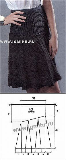 Вяжем. Черная юбка на кокетке и с клиньями. Спицы | Домохозяйки