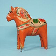 Antique Swedish Dala Horse Old & Lame Narrow Head Leg Swedish Hand Carved Paint