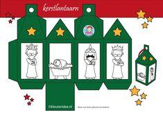 Lantaarn kerst groen, wijzen uit het Oosten, kleuteridee.nl, free printable.