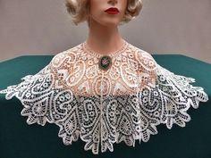 Antique Exquisite Cluny Silk Lace Capelet:
