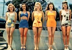 Swimsuit. 1950's curls. Reds lips. Heels at the pool. Endless glamour.