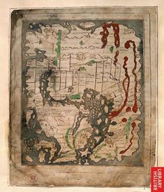 The Anglo-Saxon Mappa Mundi, An Anglo-Saxon map of their known world. The British Library. Anglo Saxon History, European History, American History, Vintage Maps, Antique Maps, Medieval Manuscript, Old Maps, Historical Maps, British Library