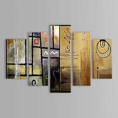 Huile peinte à la main peinture abstraite avec cadre étiré Set de 5 – USD $ 129.99