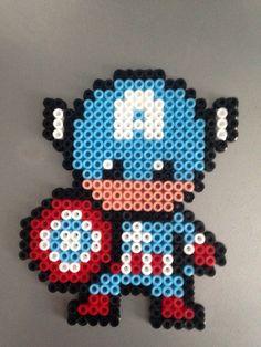 Kawaï Captain America (Perles Hama / Perler Beads)