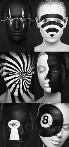 Face Illustrations by Alexander Khokhlov, photographer who uses the human face as a canvas to create illustrations in black and white.➕➕➕✖️➕➕➕