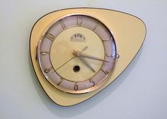 French Mid Century Atomic Age FFR Wall Clock Yellow Formica