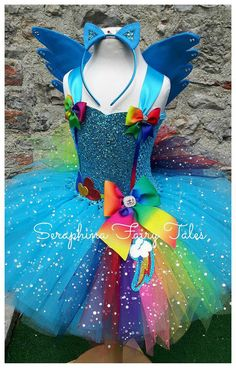 Rainbow Dash Pony Tutu Dress. Colourful MLP by SeraphinaFairyTales