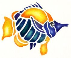 Colourful free fish stencil