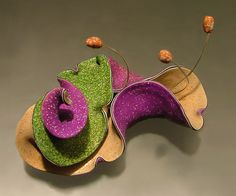 Organic Sculpture Brooch by Jana Roberts Benzon, via Flickr. Polymer clay and wire.