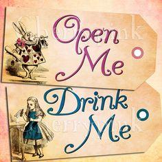Alice Vintage Tags Set 3 Alice in Wonderland by CherryPinkPrints