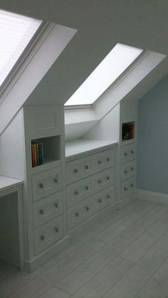 loft built ins under velux windows. books between the windows.
